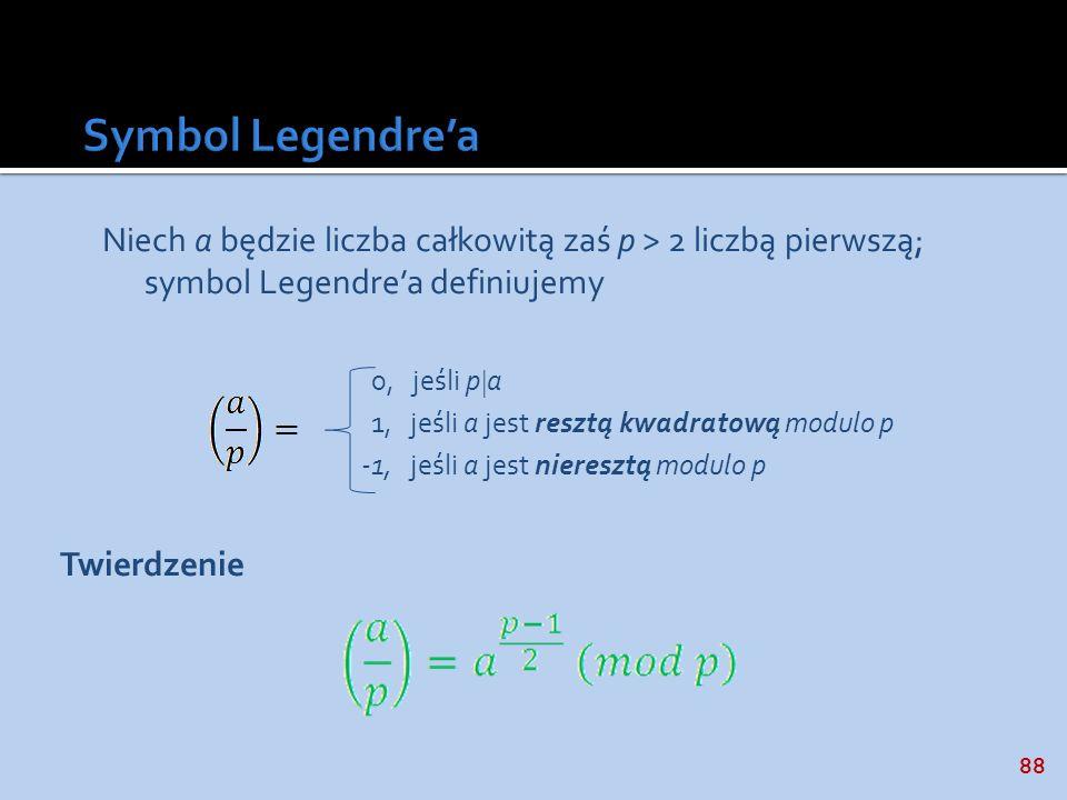 88 Niech a będzie liczba całkowitą zaś p > 2 liczbą pierwszą; symbol Legendrea definiujemy 0, jeśli p a 1, jeśli a jest resztą kwadratową modulo p -1,