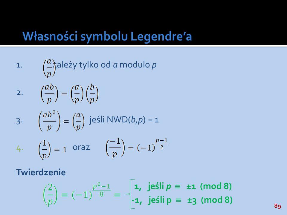 89 1.zależy tylko od a modulo p 2. 3.jeśli NWD(b,p) = 1 4.oraz Twierdzenie 1, jeśli p ±1 (mod 8) -1, jeśli p ±3 (mod 8)