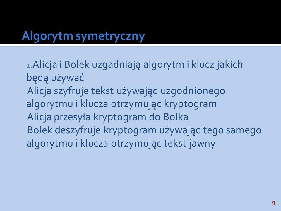 9 1. Alicja i Bolek uzgadniają algorytm i klucz jakich będą używać Alicja szyfruje tekst używając uzgodnionego algorytmu i klucza otrzymując kryptogra