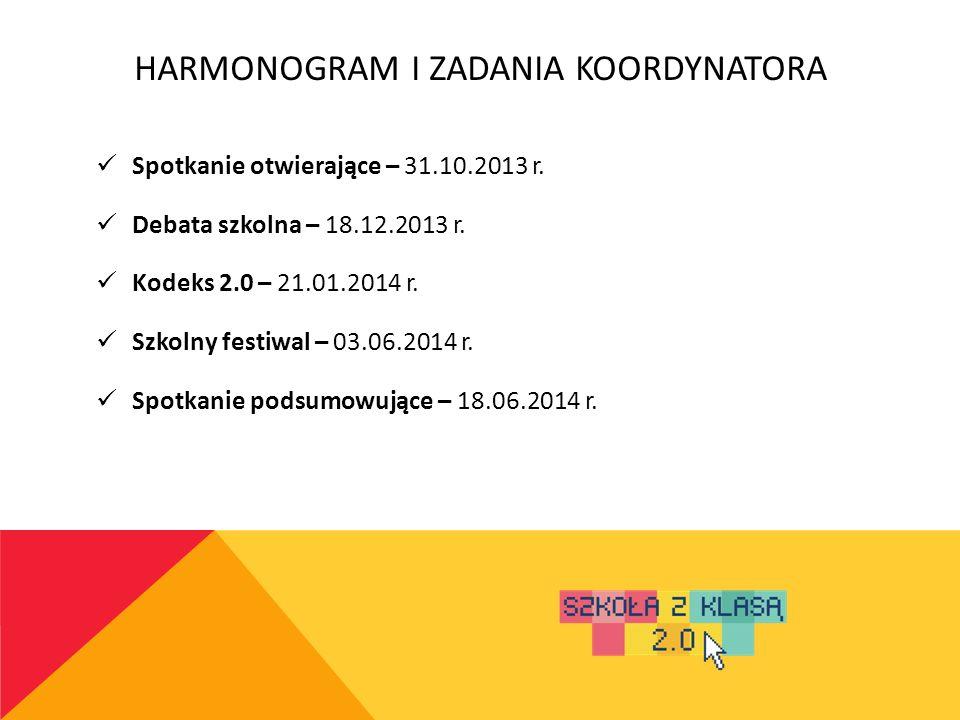 HARMONOGRAM I ZADANIA NAUCZYCIELA Założenie profilu – 31.10.2013 r.