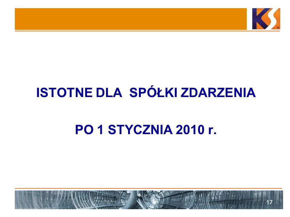 ISTOTNE DLA SPÓŁKI ZDARZENIA PO 1 STYCZNIA 2010 r. 17