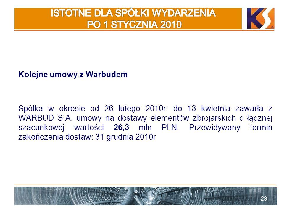 Kolejne umowy z Warbudem Spółka w okresie od 26 lutego 2010r.