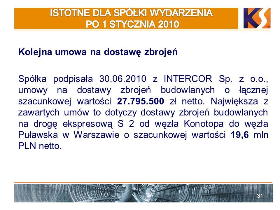 Kolejna umowa na dostawę zbrojeń Spółka podpisała 30.06.2010 z INTERCOR Sp.