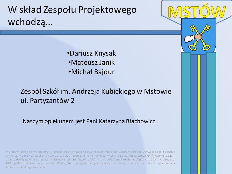 W skład Zespołu Projektowego wchodzą… Wyrażamy zgodę na wykorzystanie i przetwarzanie naszych danych osobowych przez Centrum Edukacji Obywatelskiej, z