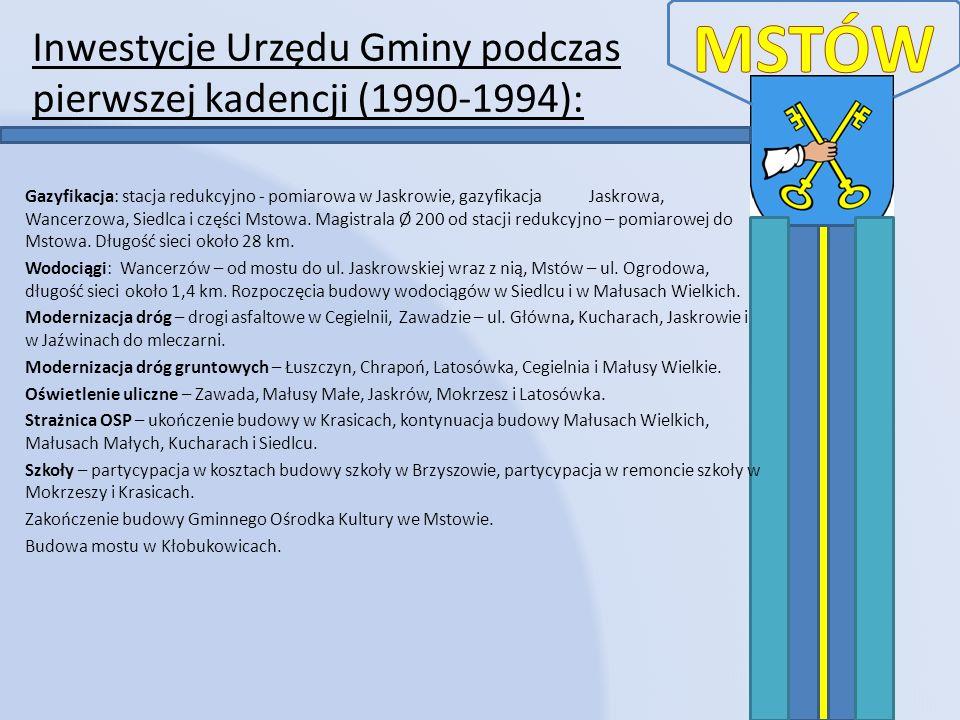 Inwestycje Urzędu Gminy podczas drugiej kadencji (1994-1998): Gazyfikacje – Cegielnia, Kuchary, Siedlec, Srocko, Brzyszów, Zawada, Mokrzesz, Krasice, Jaźwiny, Kuśmierki, Pniaki Mokrzeskie, długość sieci 72 km.