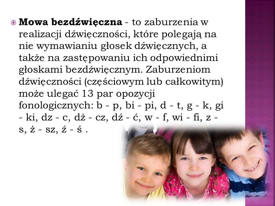 Inne wady wymowy: Kappacyzm - jest wadą artykulacyjną, w której zaburzona jest wym owa głoski k i ki, zwykle głoska k zastępowana jest przez głoskę t, Gammacyzm - jest wadą artykulacyjną, polegająca na nieprawidłowej realizacji głosek tylnojęzykowych g, gi, Lambdacyzm - wada wymowy polegająca na nieprawidłowej realizacji głoski l.