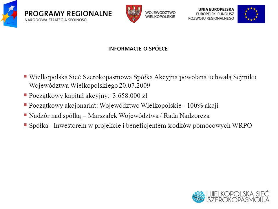 INFORMACJE O SPÓŁCE Wielkopolska Sieć Szerokopasmowa Spółka Akcyjna powołana uchwałą Sejmiku Województwa Wielkopolskiego 20.07.2009 Początkowy kapitał