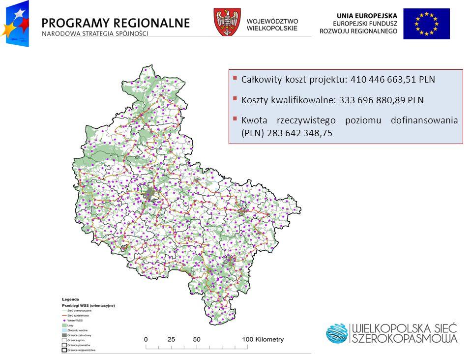 Całkowity koszt projektu: 410 446 663,51 PLN Koszty kwalifikowalne: 333 696 880,89 PLN Kwota rzeczywistego poziomu dofinansowania (PLN) 283 642 348,75