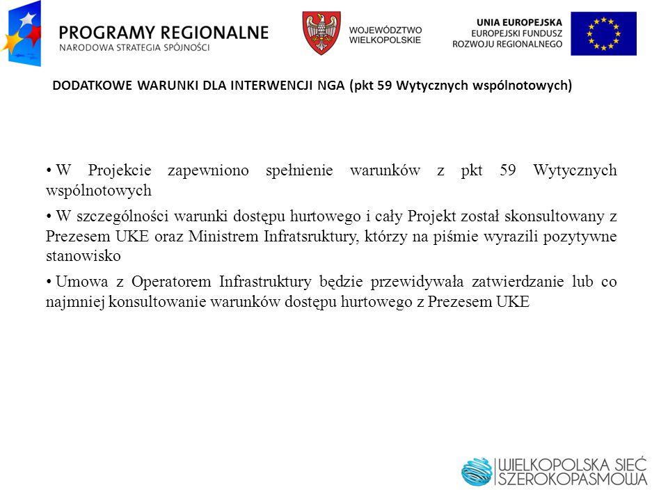 DODATKOWE WARUNKI DLA INTERWENCJI NGA (pkt 59 Wytycznych wspólnotowych) W Projekcie zapewniono spełnienie warunków z pkt 59 Wytycznych wspólnotowych W