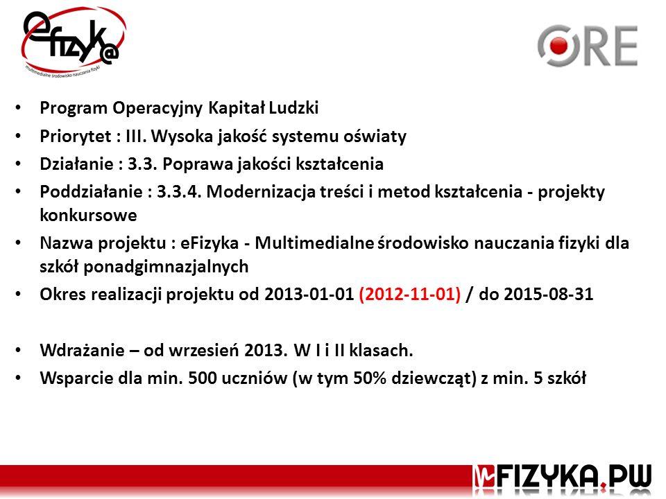 Program Operacyjny Kapitał Ludzki Priorytet : III. Wysoka jakość systemu oświaty Działanie : 3.3. Poprawa jakości kształcenia Poddziałanie : 3.3.4. Mo