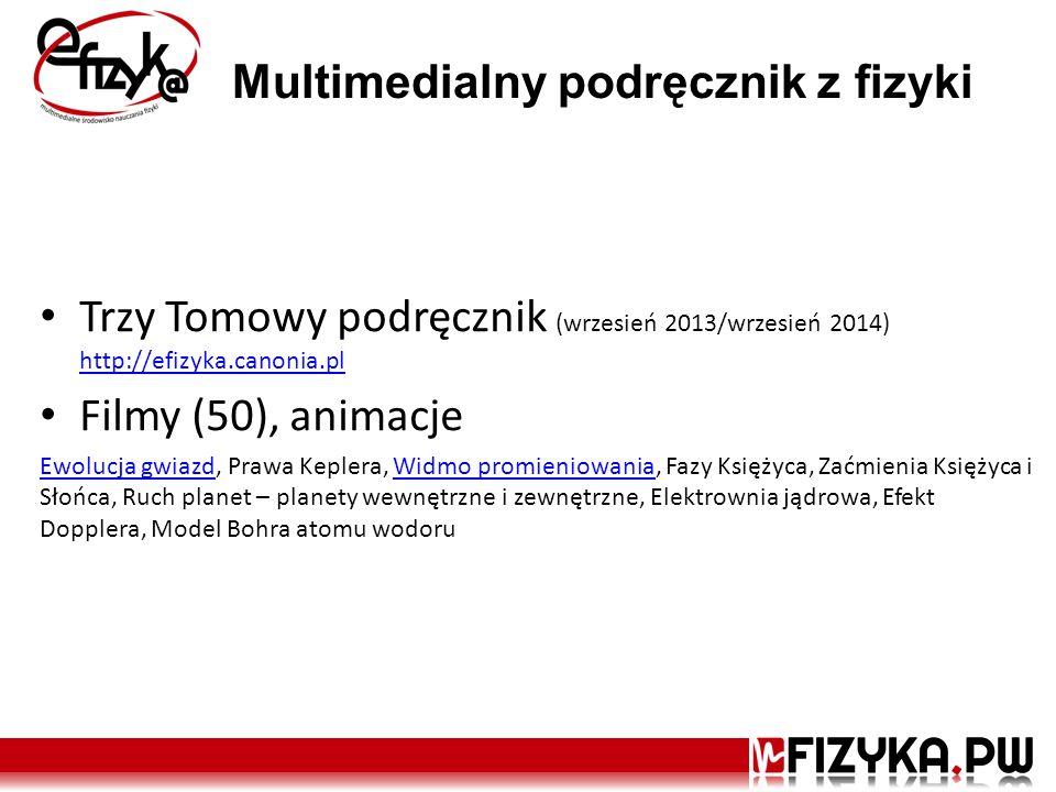 Multimedialny podręcznik z fizyki Trzy Tomowy podręcznik (wrzesień 2013/wrzesień 2014) http://efizyka.canonia.pl http://efizyka.canonia.pl Filmy (50),