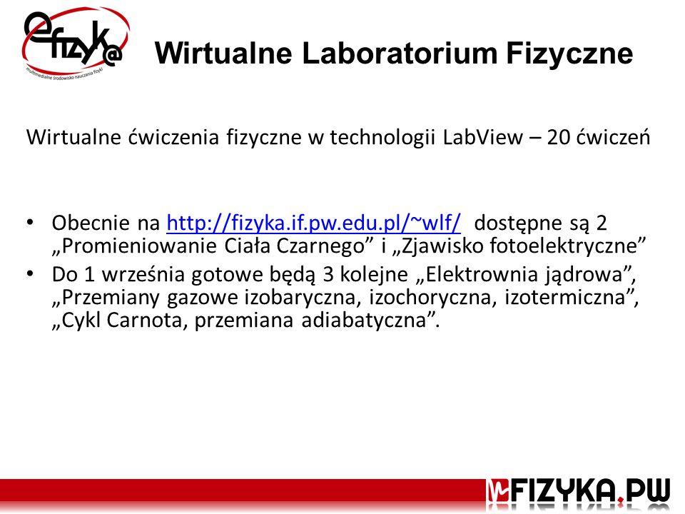 Wirtualne Laboratorium Fizyczne Wirtualne ćwiczenia fizyczne w technologii LabView – 20 ćwiczeń Obecnie na http://fizyka.if.pw.edu.pl/~wlf/ dostępne s