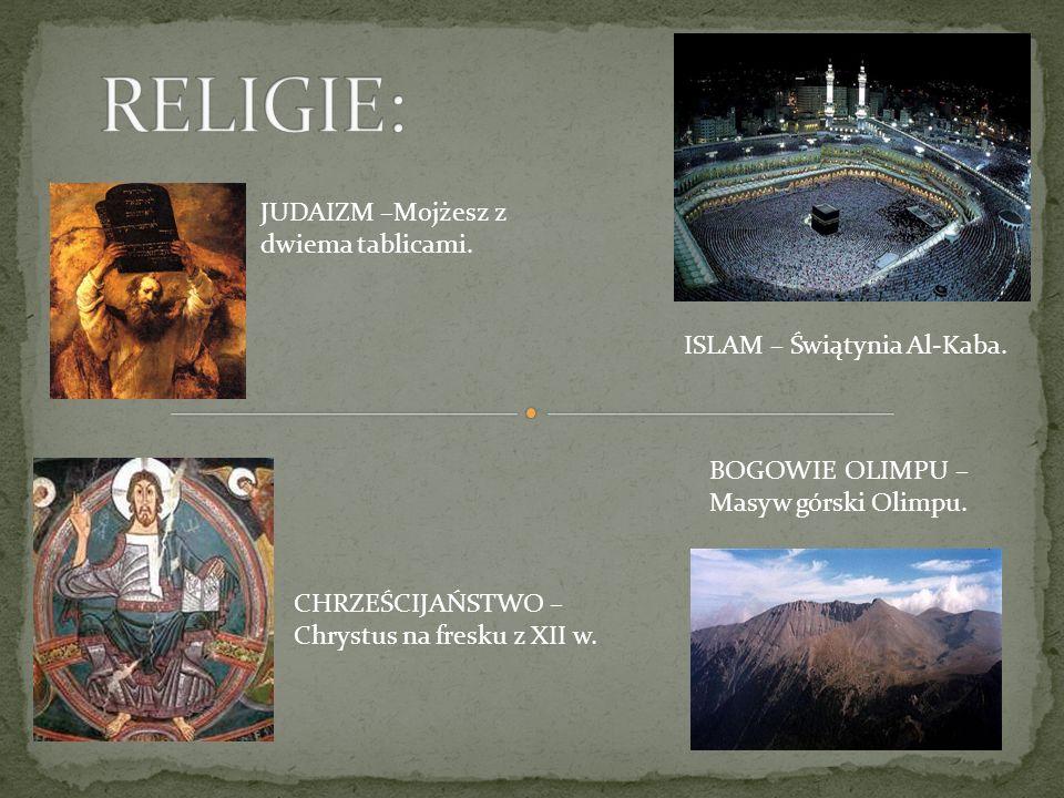 ISLAM – Świątynia Al-Kaba. CHRZEŚCIJAŃSTWO – Chrystus na fresku z XII w. BOGOWIE OLIMPU – Masyw górski Olimpu. JUDAIZM –Mojżesz z dwiema tablicami.