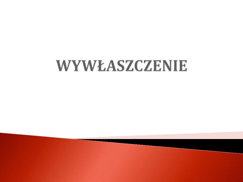 Przedmiot wywłaszczenia – Joanna Sołowiej Podmioty wywłaszczające – Karolina Smolińska Przesłanki wywłaszczenia – Kamil Sałuda Etapy postępowania – procedura wywłaszczenia – Artur Sałbut Etapy postępowania – procedura wywłaszczenia – Artur Sałbut Decyzja o wywłaszczeniu nieruchomości– Bartosz Rojek Decyzja o wywłaszczeniu nieruchomości– Bartosz Rojek Konkretne sposoby wywłaszczenia – Ewelina Amilusik i Dawid Jędrak Konkretne sposoby wywłaszczenia – Ewelina Amilusik i Dawid Jędrak
