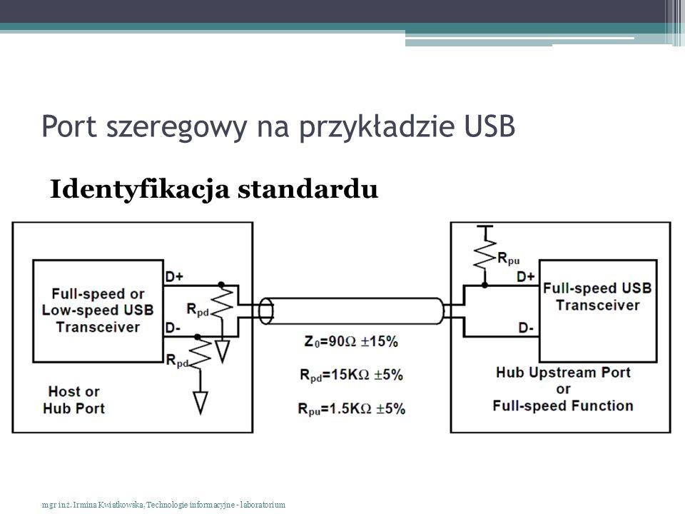 Port szeregowy na przykładzie USB Identyfikacja standardu mgr inż. Irmina Kwiatkowska, Technologie informacyjne - laboratorium
