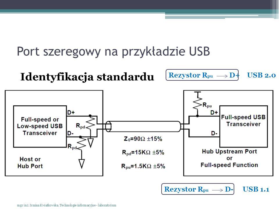 Port szeregowy na przykładzie USB Identyfikacja standardu mgr inż. Irmina Kwiatkowska, Technologie informacyjne - laboratorium Rezystor R pu D+USB 2.0