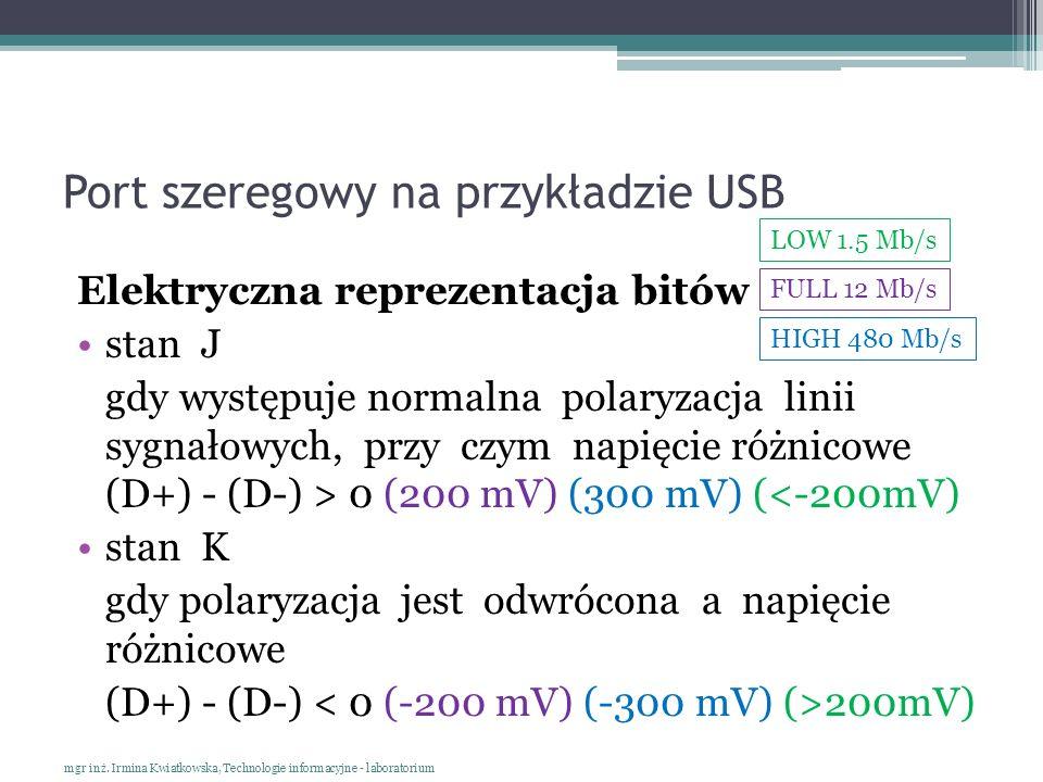 Port szeregowy na przykładzie USB Elektryczna reprezentacja bitów stan J gdy występuje normalna polaryzacja linii sygnałowych, przy czym napięcie różn