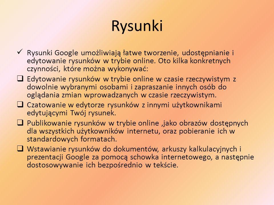Rysunki Rysunki Google umożliwiają łatwe tworzenie, udostępnianie i edytowanie rysunków w trybie online. Oto kilka konkretnych czynności, które można