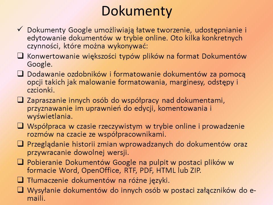 Dokumenty Dokumenty Google umożliwiają łatwe tworzenie, udostępnianie i edytowanie dokumentów w trybie online. Oto kilka konkretnych czynności, które
