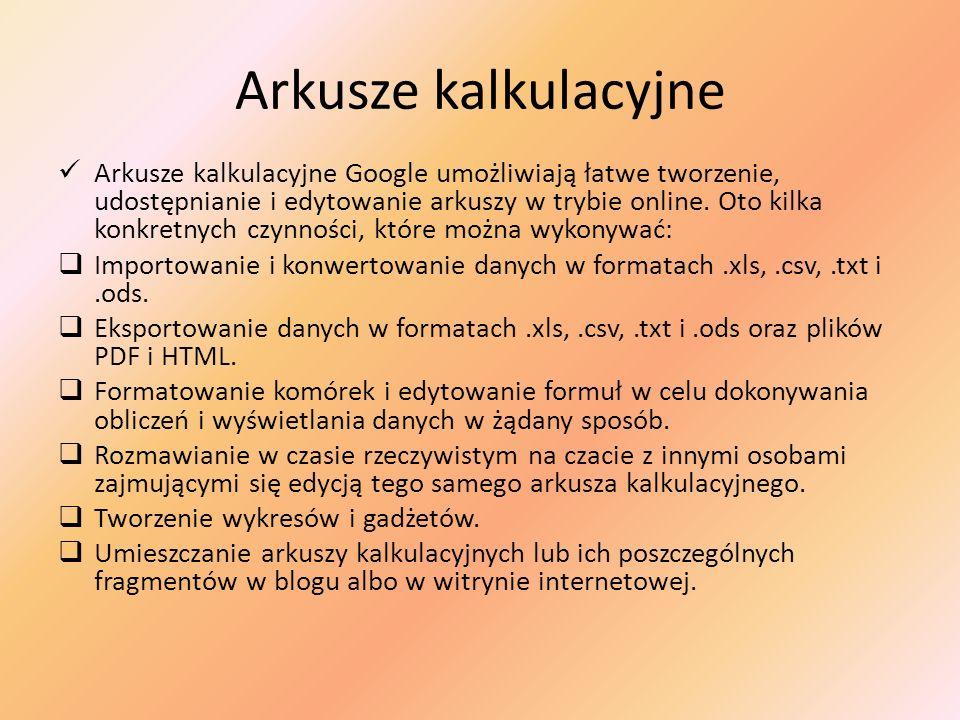 Arkusze kalkulacyjne Arkusze kalkulacyjne Google umożliwiają łatwe tworzenie, udostępnianie i edytowanie arkuszy w trybie online. Oto kilka konkretnyc
