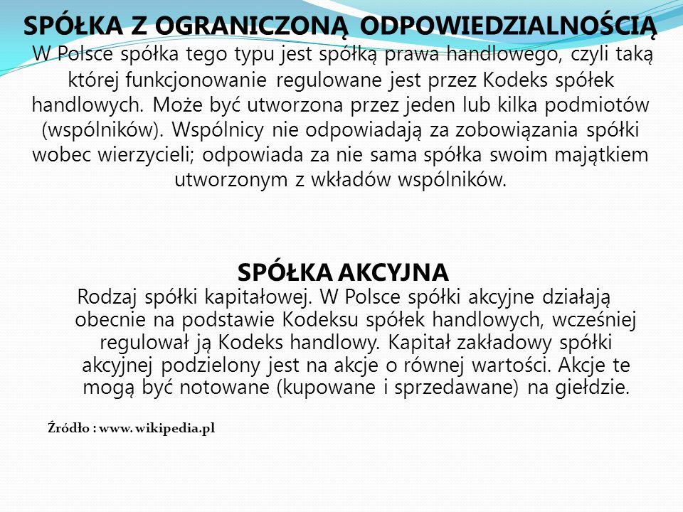 SPÓŁKA Z OGRANICZONĄ ODPOWIEDZIALNOŚCIĄ W Polsce spółka tego typu jest spółką prawa handlowego, czyli taką której funkcjonowanie regulowane jest przez