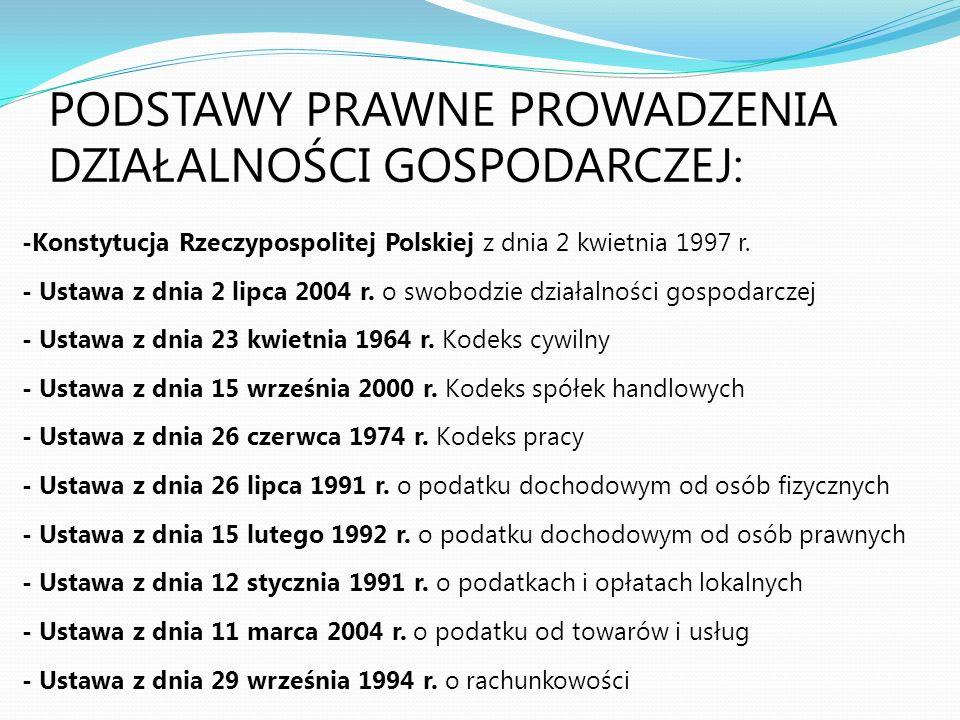 PODSTAWY PRAWNE PROWADZENIA DZIAŁALNOŚCI GOSPODARCZEJ: -Konstytucja Rzeczypospolitej Polskiej z dnia 2 kwietnia 1997 r. - Ustawa z dnia 2 lipca 2004 r