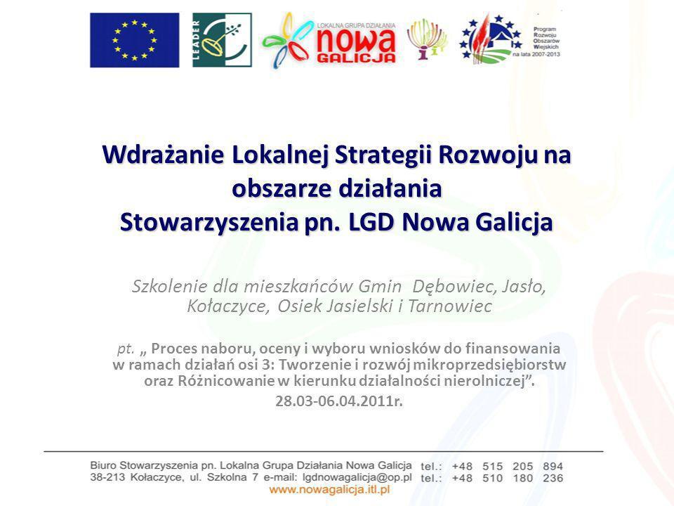 Wdrażanie Lokalnej Strategii Rozwoju na obszarze działania Stowarzyszenia pn. LGD Nowa Galicja Szkolenie dla mieszkańców Gmin Dębowiec, Jasło, Kołaczy