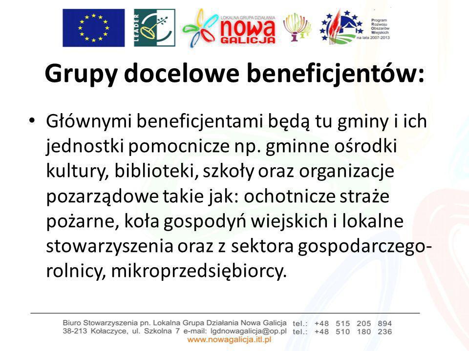Grupy docelowe beneficjentów: Głównymi beneficjentami będą tu gminy i ich jednostki pomocnicze np. gminne ośrodki kultury, biblioteki, szkoły oraz org
