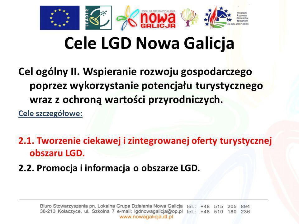 Cele LGD Nowa Galicja Cel ogólny II. Wspieranie rozwoju gospodarczego poprzez wykorzystanie potencjału turystycznego wraz z ochroną wartości przyrodni