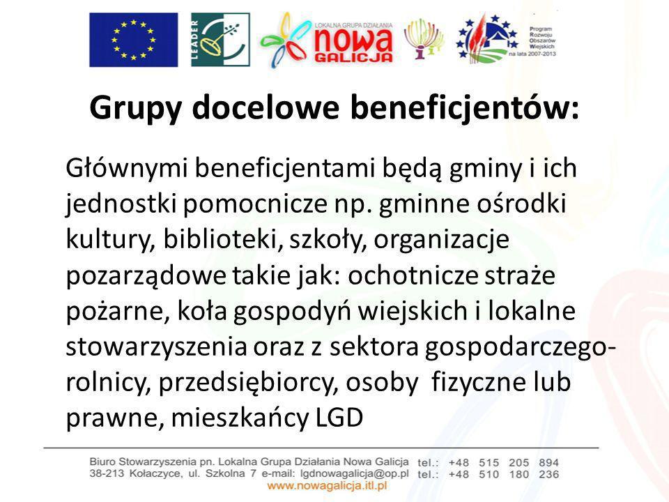 Grupy docelowe beneficjentów: Głównymi beneficjentami będą gminy i ich jednostki pomocnicze np. gminne ośrodki kultury, biblioteki, szkoły, organizacj