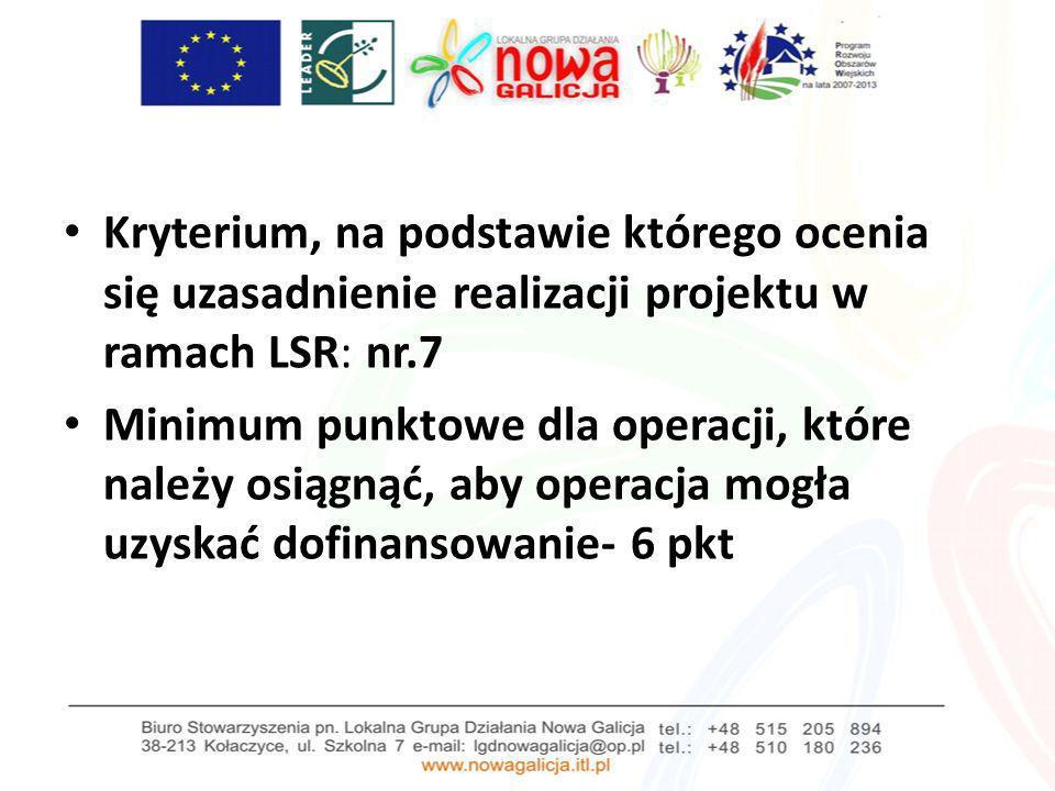 Kryterium, na podstawie którego ocenia się uzasadnienie realizacji projektu w ramach LSR: nr.7 Minimum punktowe dla operacji, które należy osiągnąć, a
