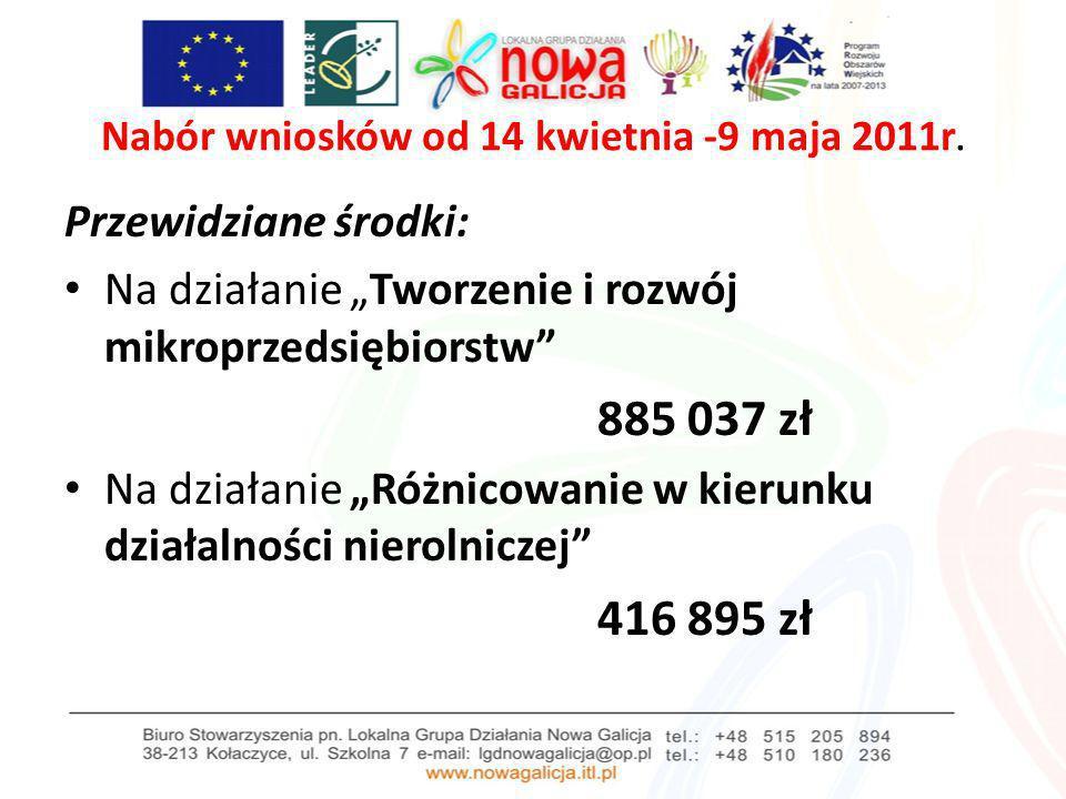 Nabór wniosków od 14 kwietnia -9 maja 2011r. Przewidziane środki: Na działanie Tworzenie i rozwój mikroprzedsiębiorstw 885 037 zł Na działanie Różnico