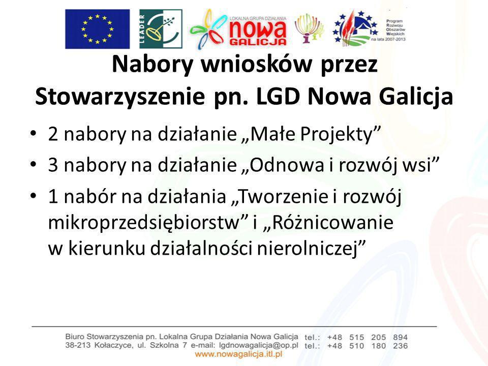 Nabory wniosków przez Stowarzyszenie pn. LGD Nowa Galicja 2 nabory na działanie Małe Projekty 3 nabory na działanie Odnowa i rozwój wsi 1 nabór na dzi