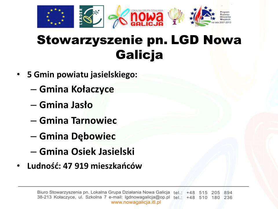 Stowarzyszenie pn. LGD Nowa Galicja 5 Gmin powiatu jasielskiego: – Gmina Kołaczyce – Gmina Jasło – Gmina Tarnowiec – Gmina Dębowiec – Gmina Osiek Jasi