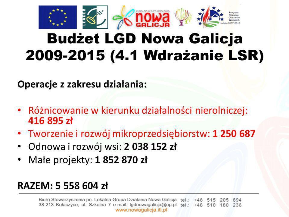 Budżet LGD Nowa Galicja 2009-2015 (4.1 Wdrażanie LSR) Operacje z zakresu działania: Różnicowanie w kierunku działalności nierolniczej: 416 895 zł Twor