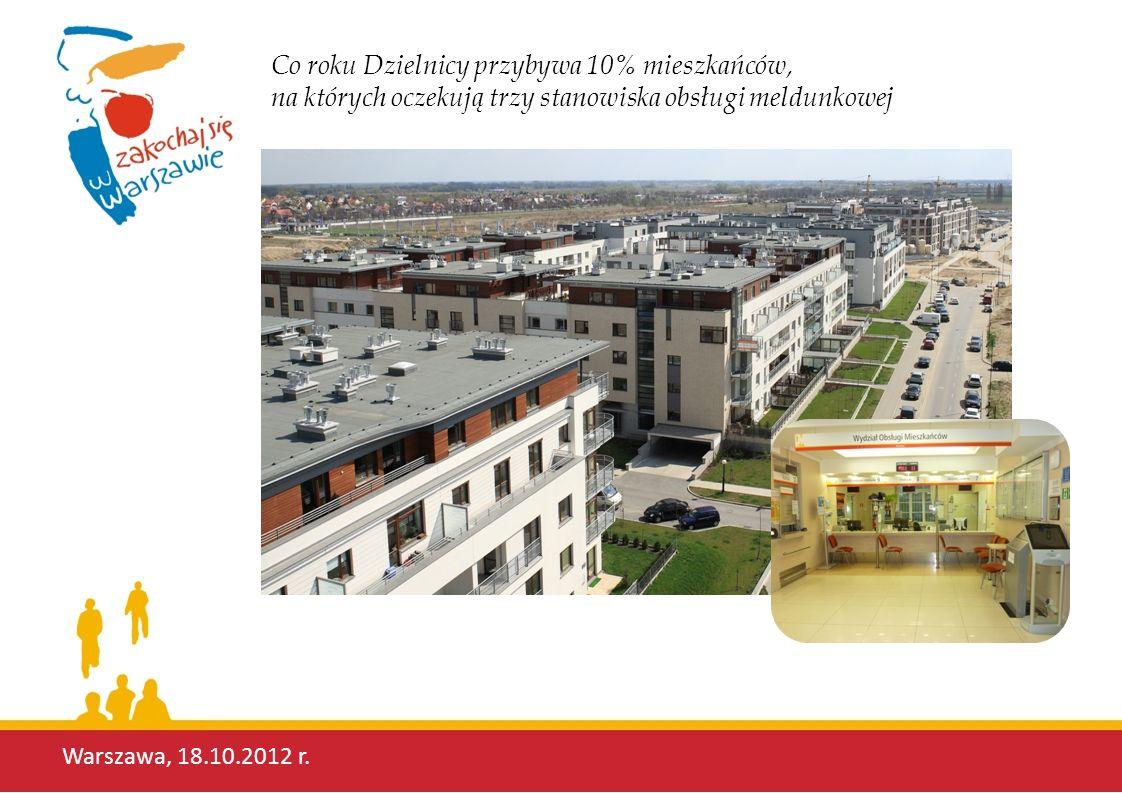 Warszawa, 18.10.2012 r. Co roku Dzielnicy przybywa 10% mieszkańców, na których oczekują trzy stanowiska obsługi meldunkowej
