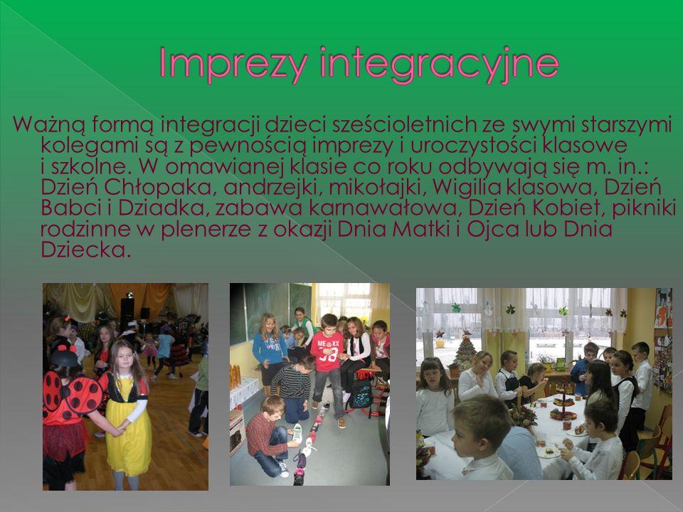 Ważną formą integracji dzieci sześcioletnich ze swymi starszymi kolegami są z pewnością imprezy i uroczystości klasowe i szkolne. W omawianej klasie c