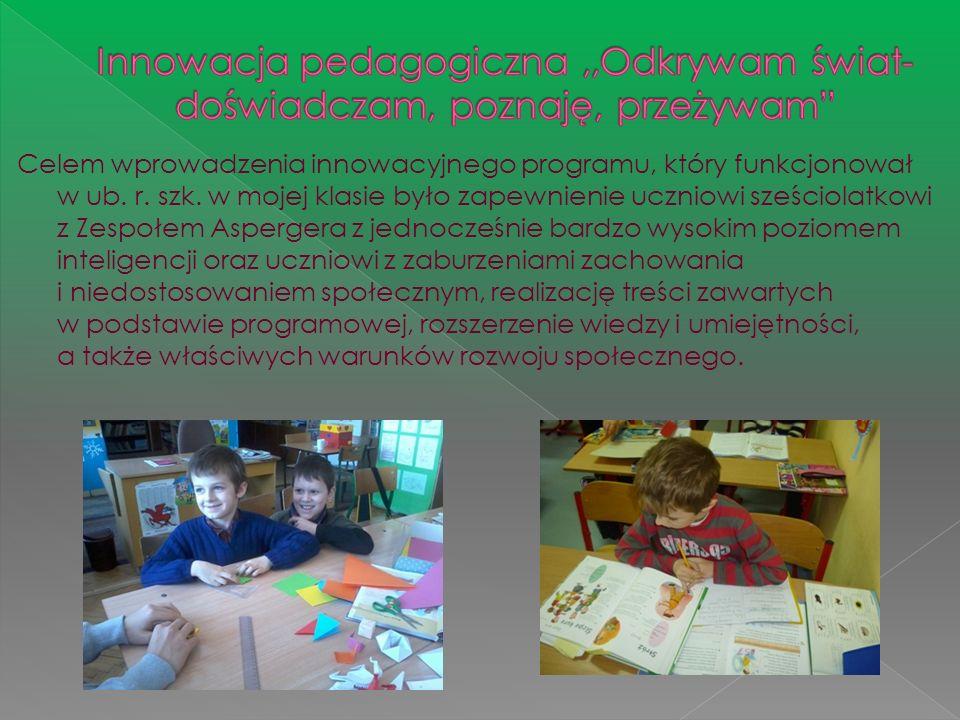 Celem wprowadzenia innowacyjnego programu, który funkcjonował w ub. r. szk. w mojej klasie było zapewnienie uczniowi sześciolatkowi z Zespołem Asperge
