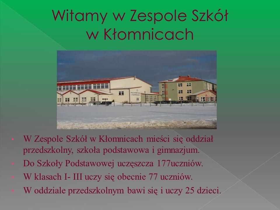 W Zespole Szkół w Kłomnicach mieści się oddział przedszkolny, szkoła podstawowa i gimnazjum. Do Szkoły Podstawowej uczęszcza 177uczniów. W klasach I-