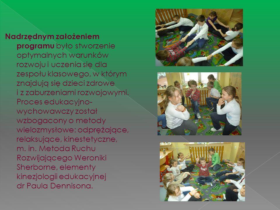 Nadrzędnym założeniem programu było stworzenie optymalnych warunków rozwoju i uczenia się dla zespołu klasowego, w którym znajdują się dzieci zdrowe i