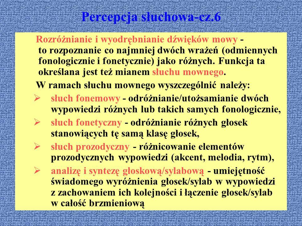 Percepcja słuchowa-cz.6 Rozróżnianie i wyodrębnianie dźwięków mowy - to rozpoznanie co najmniej dwóch wrażeń (odmiennych fonologicznie i fonetycznie)