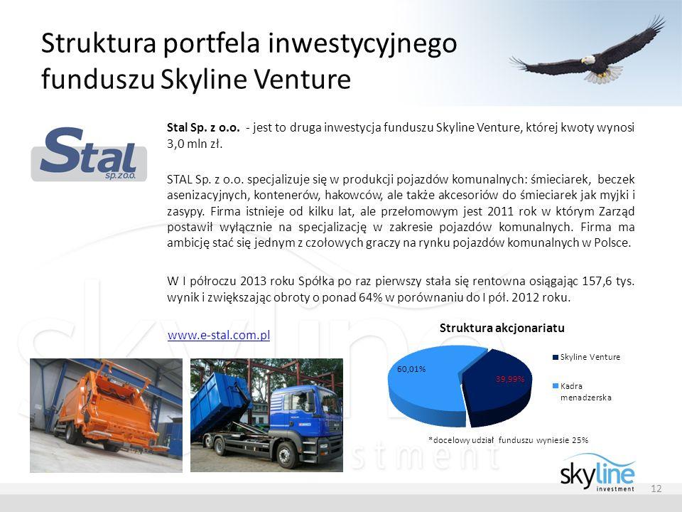 Struktura portfela inwestycyjnego funduszu Skyline Venture 12 Stal Sp. z o.o. - jest to druga inwestycja funduszu Skyline Venture, której kwoty wynosi