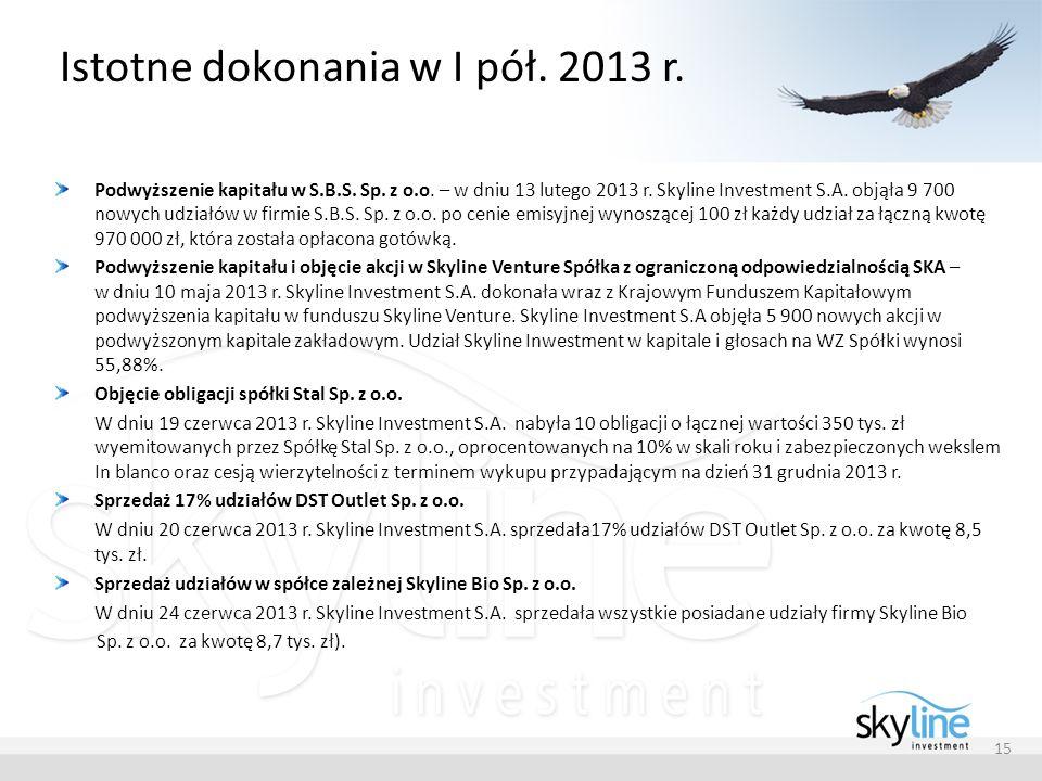 Istotne dokonania w I pół. 2013 r. Podwyższenie kapitału w S.B.S. Sp. z o.o. – w dniu 13 lutego 2013 r. Skyline Investment S.A. objąła 9 700 nowych ud