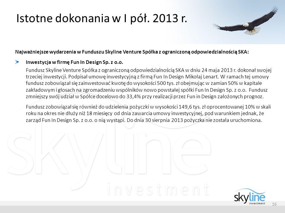 Istotne dokonania w I pół. 2013 r. Najważniejsze wydarzenia w Funduszu Skyline Venture Spółka z ograniczoną odpowiedzialnością SKA: Inwestycja w firmę