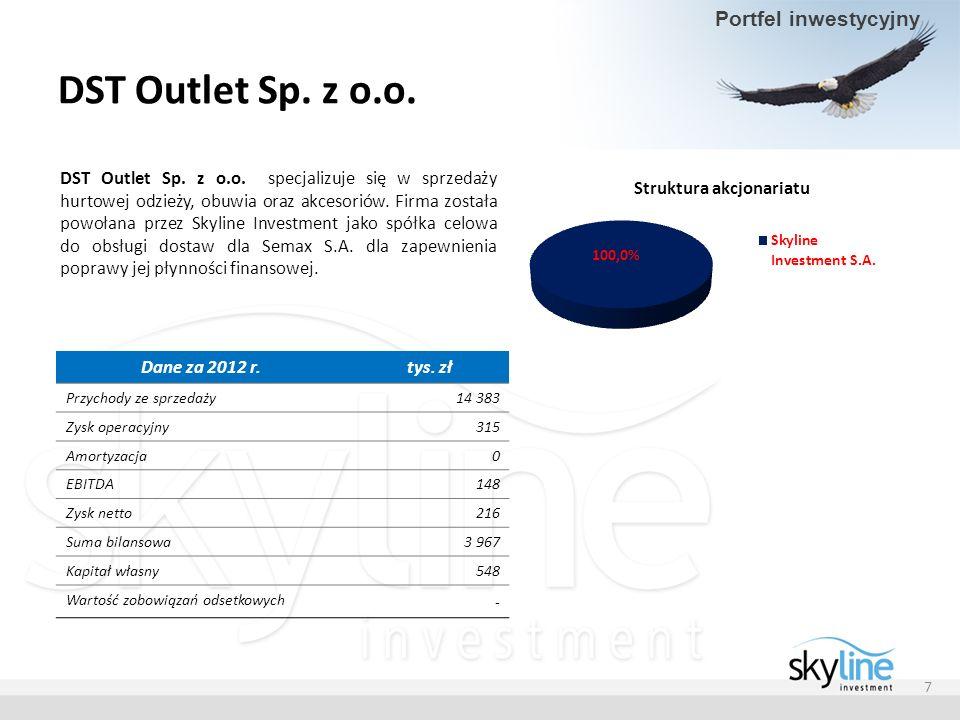 DST Outlet Sp. z o.o. DST Outlet Sp. z o.o. specjalizuje się w sprzedaży hurtowej odzieży, obuwia oraz akcesoriów. Firma została powołana przez Skylin
