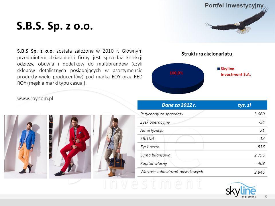 S.B.S. Sp. z o.o. S.B.S Sp. z o.o. została założona w 2010 r. Głównym przedmiotem działalności firmy jest sprzedaż kolekcji odzieży, obuwia i dodatków