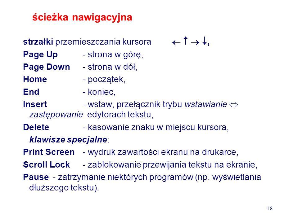 Klawiatura jest urządzeniem wejściowym, posiadającym następujące grupy klawiszy : blok centralny - klawisze literowe, znaków interpunkcyjnych i specja