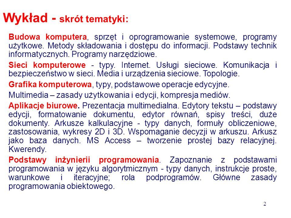 Tomasz Bajorek dr inż. e-mail: tbajorek@prz.edu.pl sem. 115 godzin wykład tematyka: sieci komputerowe SO Windows grafika rastrowa i wektorowa edytory