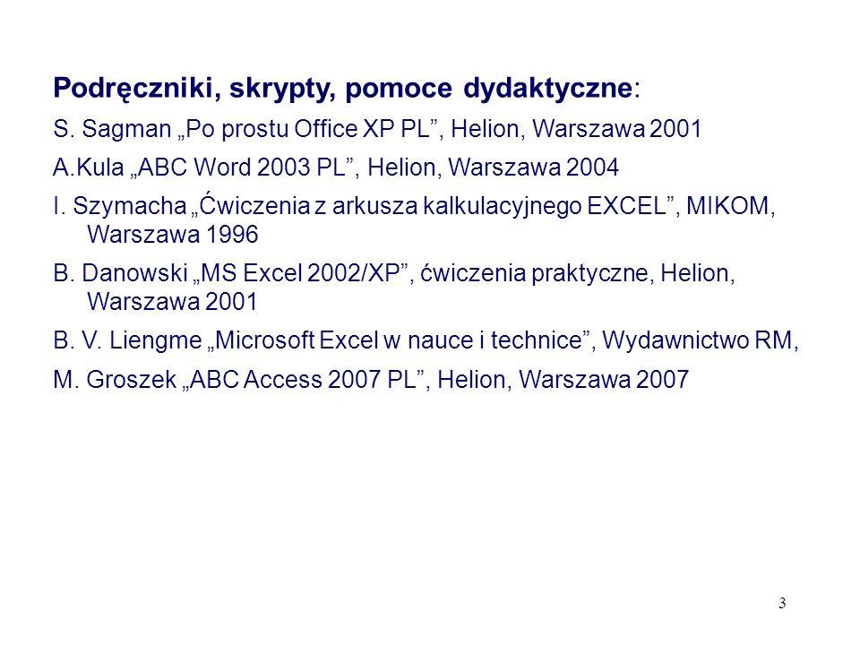 Podręczniki, skrypty, pomoce dydaktyczne: S.