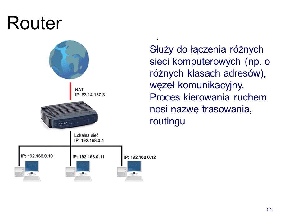 64 Przełącznik (switch) switch potrafi rozpoznać dla kogo przeznaczone są dane i przekierować je na właściwy port 64